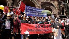 【動画ニュース】トロントの香港支持デモ 中国人留学生の妨害で出発できず